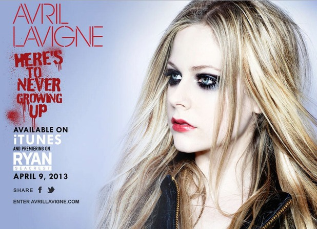 Avril Lavigne adelanta foto de su nuevo single Heres To Never Growing Up