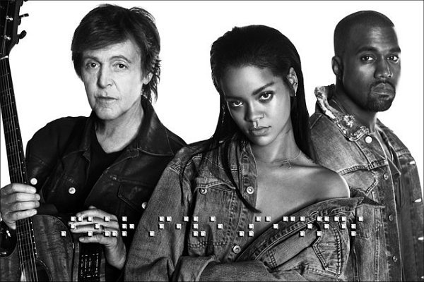 "Rihanna junto a Paul McCartney y Kanye West en su nuevo single ""FourFive Seconds"" 1"